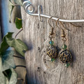 Deep Green Crystal with Ornate Circle Earrings