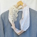 Boho Clothing Doily Scarf Infinity Shabby Chic Rustic Bohemian Crochet Cream