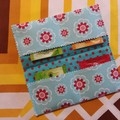 Handy Tea Bag Wallet- Modern red flower on duck egg blue