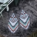 Handmade beaded brick stitch drop earrings