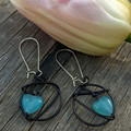 Wire wrapped Blue Heart Earrings