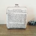 Jane Austen Gift Clutch Purse Quote Pride and Prejudice Bookworm Gift Bridal