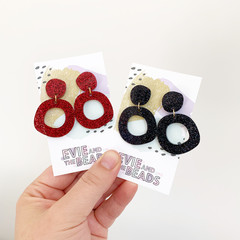 Red Black Glitter Organic Circle Dangles