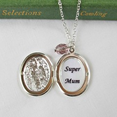 Super Mum Locket Necklace Jewellery Mom Motherhood Silver Mother's Day