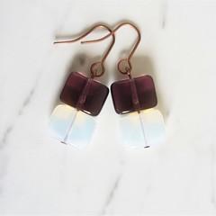 Simple minimalist square glass beaded short drop earrings (Purple White)