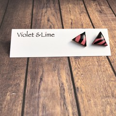 Triangle Pink and Black Earrings