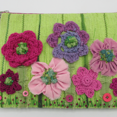 """Dulcie"" Clutch Bag  - Embroidery / Crochet & Ribbon Flowers"