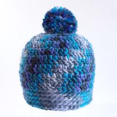 Beanie - size toddler 12 - 18 months old - blue pompom beanie hat