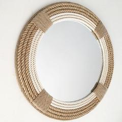 LARGE 80cm Handmade Hampton Nautical Coastal Round Rope Mirror