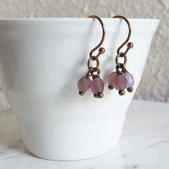 Vintage Boho style tiny cut glass bead short Cluster earrings , Frosted Purple