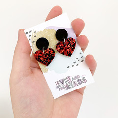 Small Heart Statement Acrylic Earrings