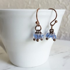 Vintage Boho style tiny cut glass bead short Cluster earrings , Pale Pink Blue
