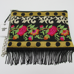 """Lulu"" Clutch Bag - Embroidered Panel & Tassels."