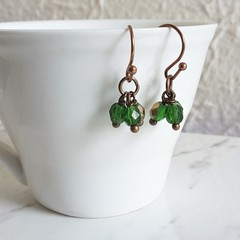 Vintage Boho style tiny cut glass bead short Cluster earrings , Green Gold