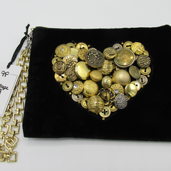 """Mimi"" Clutch Bag - Gold Button Heart"