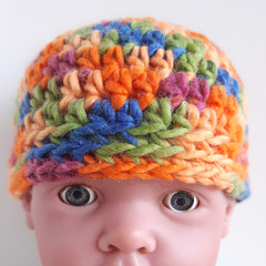 Beanie - size newborn baby to 3 months old - colourful beanie hat