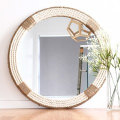 MEDIUM 60cm Handmade Hampton Nautical Coastal Round Rope Mirror