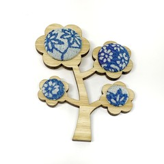 Kimono Tree Brooch - Powder Blue Florals