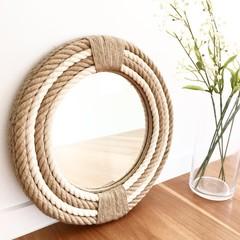 SMALL 41cm Handmade Hampton Nautical Coastal Round Rope Mirror