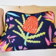 Bright banksia wooden clutch