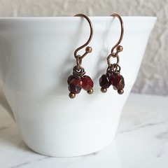 Vintage Boho style tiny cut glass bead short Cluster earrings , Crimson red