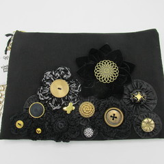 """Coco"" Clutch Bag - Crochet & Velvet Flowers"