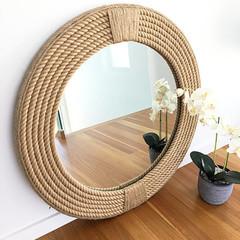 MEDIUM 60cm Handmade Hampton Nautical Coastal Round Rope Mirror
