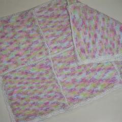 Knitted baby blanket/pram cot blanket rug throw