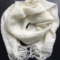 Pure Merino Wool Scarf, Handwoven, Natural colour