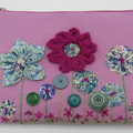 """Florence"" Clutch Bag - Yoyo Flowers & Embroidery"