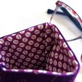 Fabric eye glass case, purple with embroidered butterfly