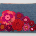 """Kitty"" Clutch Bag - Embroidery & Crochet Flowers"