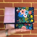 Fold Over Clutch - Flowers with Rose Gold Pearl Cork