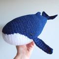 Humpback whale crochet soft toy; blue; white; marine; ocean creature