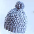 Beanie - size teen or small ladies - silver pompom beanie hat