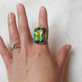 Chunky Crystal Cocktail Ring Jewelry Jewellery Adjustable Vitrail Estate Style