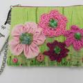 """Dulcie"" Purse  - Embroidery / Crochet & Ribbon Flowers"