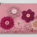 """Lizzie"" Clutch Bag - Embroidery & Crochet Flowers"