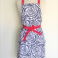 Rose Navy and Red Womens Kitchen Apron FREE Post!