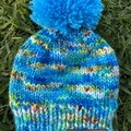 Newborn baby boy or girl blue beanie PomPom fit to 6 months