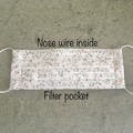 Cotton Reusable Fabric Face Mask with Nose Wire & Filter Option