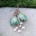 Verdigris Bell Flower Earrings - freshwater pearls in white or black