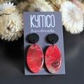 'Poppy' series dangle resin earrings - oval