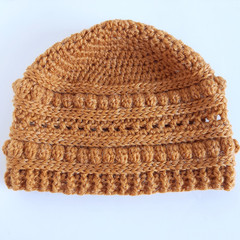 Beanie - size adult ladies - mustard, texture beanie hat