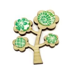 Kimono Tree Brooch - Green Florals