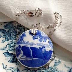 Spode Blue Italian pendant on Sterling Silver