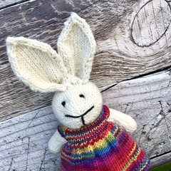 Arabella the  Knitted Bunny Rabbit Toy with a Rainbow Party Dress