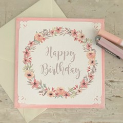 Greeting Card Floral Wreath Pink - Happy Birthday