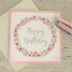 Greeting Card Floral Wreath Pink - Happy Birthday