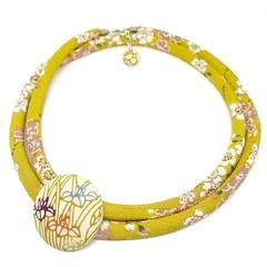 Kimono Cord Necklace Mustard Florals